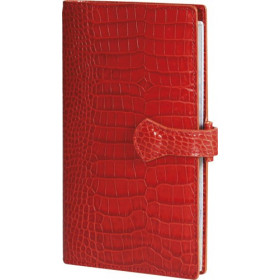 Organiseur MIGNON AK18 - 175x91mm - cuir Veau Croco SAVANNAH Orange + patte