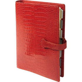 Organiseur MIGNON AK22 - 218x149mm - cuir Veau Croco SAVANNAH Orange + patte