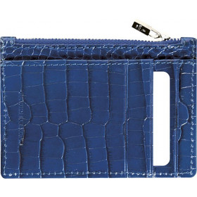 Mini smoking MIGNON - 115x80mm cuir Veau Croco SAVANNAH Bleu indigo