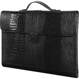Porte-documents MIGNON - 27x37cm cuir Veau Croco SAVANNAH Noir