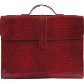 Porte-documents MIGNON - 27x37cm cuir Veau Croco SAVANNAH Rouge