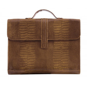 Porte-documents MIGNON - 27x37cm cuir Veau Croco SAVANNAH Vison