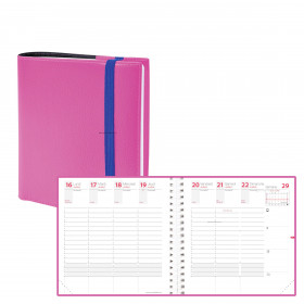 Agenda QUOVADIS TIME&LIFE MEDIUM rose Septembre - 16x16cm - 1 semaine sur 2 pages