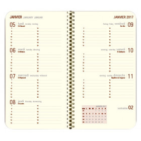 DESTOCKAGE-Recharge agenda spirale OBERTHUR Contemporain 16 poche - 8,9x16,5cm - 1 semaine sur 2 pages LODGE/KENT