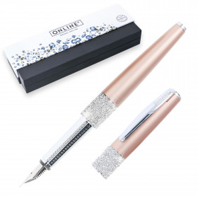 Stylo plume cristaux SWAROVSKI - or rose - EF (0,1 mm) - BLEU