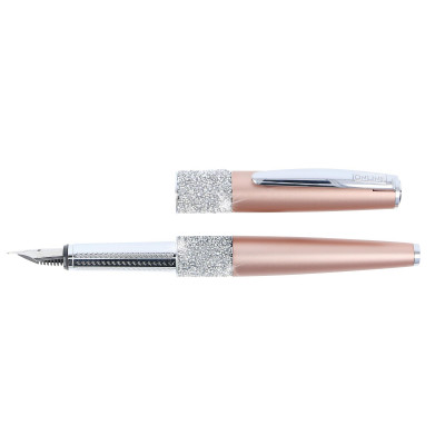 Stylo plume cristaux SWAROVSKI - or rose - F (0,3 mm) - BLEU